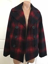 NWT OLD NAVY Women's PLAIDED TRENCH COAT Jacket Wool Long Sleeve sz M
