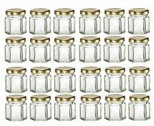 Nakpunar 24 pcs 1.5 oz Mini Hexagon Glass Jars with Gold Plastisol Lined Lids