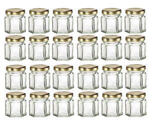 Nakpunar 24 pcs 1.5 oz Mini Hexagon Glass Jars with Gold Plastisol Lined Lids