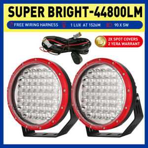 RED Pair 9inch OSRAM LED Driving Spot Lights Combo Beam Black Truck Offroad Work
