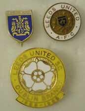 LEEDS UNITED FOOTBALL CLUB Enamel Pin Badges x 3, Lot No1 DUBLIN BRANCH