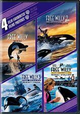 4DVD SET - FREE WILLY + FREE WILLY 2 + FREE WILLY 3 the RESCUE + ESCAPE PIRATES
