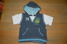 Baby T-Shirt Gr. 86 Jungen DopDopo blau mit Kapuze Sommer, Sehr Guter Zustand