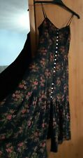Laura Ashley Vintage Floral Silk Tiered Button Through Gypsy Dress Size 10