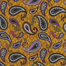 BLANK QUILTING PURPLE BLUE GREEN PAISLEY ON GOLD COTTON FABRIC BTY