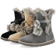 Winter Womens Furry Snow Boots Platform Heel Anti-skid Shoes Plus Size 3 Colors