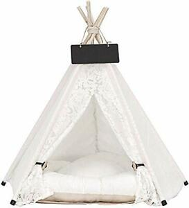 Washable Canvas Pet Teepee with Cushion Play Tent Bed for Small Cats Dogs