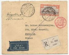 Egypt 1939 Dec registered airmail Cairo to France, censored, by rail to Italy