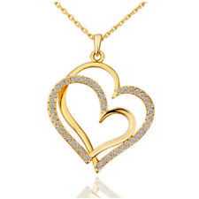 Gold Plated Crystal Double Heart Pendant Necklace Jewelry With Gift Bag