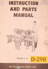Doall C 4 Metal Cutting Band Saw Instructions And Parts Manual 1967