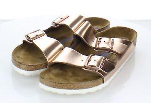 P13 $135 Women's Sz 40 N Birkenstock Arizona Metallic Leather Footbed Sandals