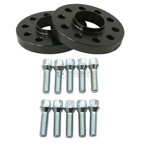 15mm Hubcentric Black Wheel Spacers 5x112 5x100 57.1 14x1.5 Silver Cone Bolts