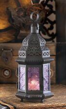 Moroccan Style Candle Lantern w/ Intricate Cutouts Light Purple Pressed Glass