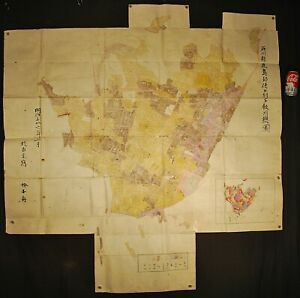 LARGE 1903 JAPANESE GOVERNMENT MAP / HAND DRAWN OF ISHIKAWA PREFECTURE / 58 X 43