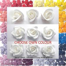 Set of 9 MIXED SIZES 3D Sugar Roses cake decorations NON-WIRED/CHOOSE OWN COLOUR