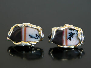 Vtg 70s Chunky Moss Agate 2-Tone Dendritic Cabochon Stone Cuff Links
