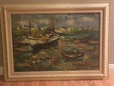 SAULIN Ship Oil Painting Mid Century French Artist