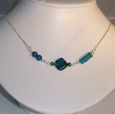 ♥Dream-PearlsDesign Halskette Chrysokoll Azurit Malachit blau grün silber ♥HK066