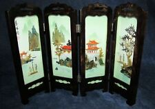 Oriental Small Decorative Four Wood Panels Handpainted Shells Table Screen