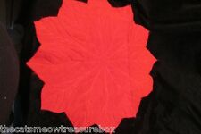 """Christmas Poinsettia Table Decoration or Placemat Fleece 17"""" Handcrafted"""