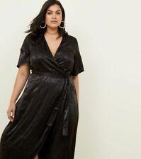 NEW New Look Curves Black Floral Satin Dip Hem Jacquard Dress Sz 24
