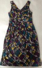 Planet retro 50s print summer pleated sleeveless dress,knee length,12 40 M,VGC