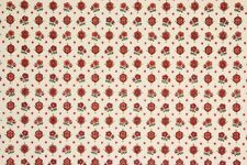 1960s Vintage Wallpaper Red Floral Geometric on White