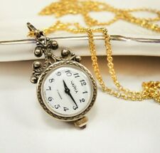 Vintage Gold Women's Watch Chaika Necklace Soviet Ruby Mechanical watch pendant