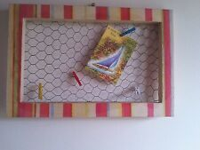 Colourful Chicken wire memo/photo/jewellery Board. Yellow/pink/red. + 4 pegs.