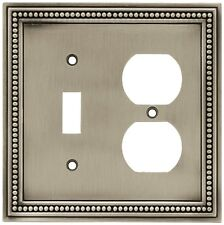 64766 Brushed Satin Pewter Beaded Single Switch / Duplex Outlet Cover Plate