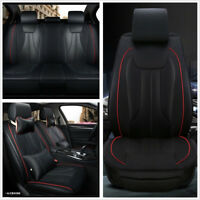 Car Seat Cover Set Wearproof PU Leather Smooth Cushion Neck&Lumbar PillowsBlack