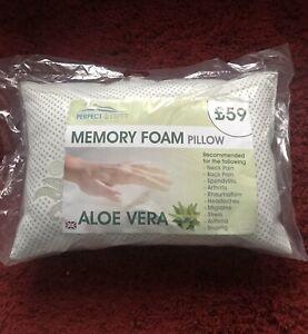 2 x Aloe Vera Memory Foam Luxury PillowsNew Sale Cheap Bedroom Bed