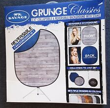 Savage Collapsible 5 x 7' Backdrop Background with 8' Stand Kit, Gray Pine/Blue