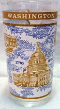 1976 SOUVENIR GLASS Historic Washington D.C. BLUE & GOLD COLOR