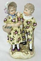 """Victorian Children Porcelain Figurine Chintz Floral Outfits Vintage 4.25""""H x 2""""W"""