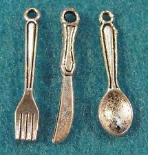 30Pcs. Tibetan Silver FORK-KNIFE-SPOON Silverware Set Charms Pendants PR09