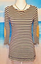 H.I.P. Womans TAUPE and NAVY Stripes Maternity VERY SOFT STRETCHY TUNIC size M