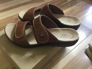 New Clarks Leisa Lacole Slide Sandal Ladies 8-1/2M Tan Leather