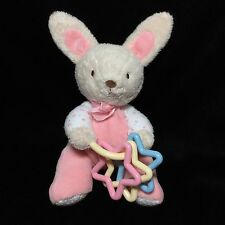"""Carters Just One Year Pink White Polka Dot Bunny Rabbit Soft Toy Plush 9"""""""