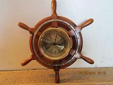 SETH THOMAS BRASS CLOCK, IN WOOD SHIP'S WHEEL