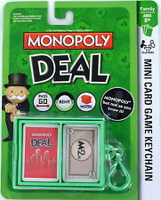 MONOPOLY Deal Game Mini Card Keychain Keyring Clip-On Basic Fun miniature NEW