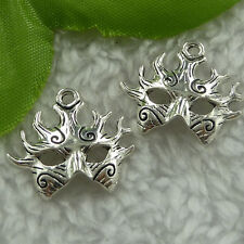 Free Ship 240 pieces tibet silver mask charms 21x19mm #1932