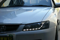 Holden VY Calais Berlina HSV LED DRL Black Headlights