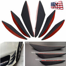 6Pcs Black Carbon Fiber Pattern ABS Car Front Bumper Spoiler Canards Splitter
