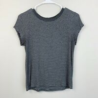 American Eagle Soft & Sexy Gray Striped Short Sleeve Cropped Shirt Womens Size S