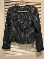 XOXO Women's Black and Gold Metallic Lace Blazer Suit Jacket Size XL