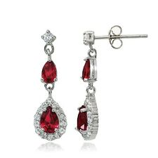 Sterling Silver Created Ruby & White Topaz Fashion Teardrop Earrings