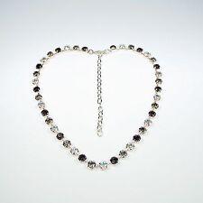 Damen Kette Tennis 925 Versilbert mit Swarovski Kristallen Schwarz Weiß Silber