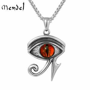 MENDEL Mens Womens Egypt Egyptian Pharaoh Evil Eye of Horus Ra Pendant Necklace