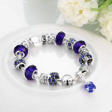 925 Sterling Silver European Murano Glass CZ Crystal Charm Womens Bracelet + Box